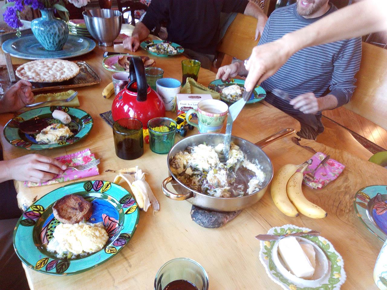 Group having breakfast.