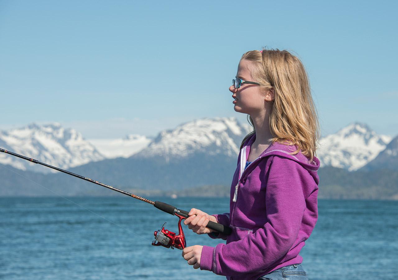 Girl fishing.