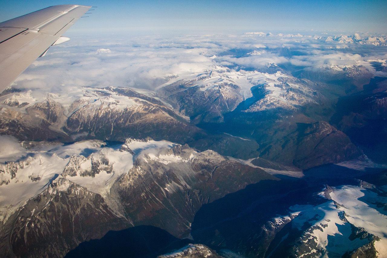 Aerial view of Alaska mountains.