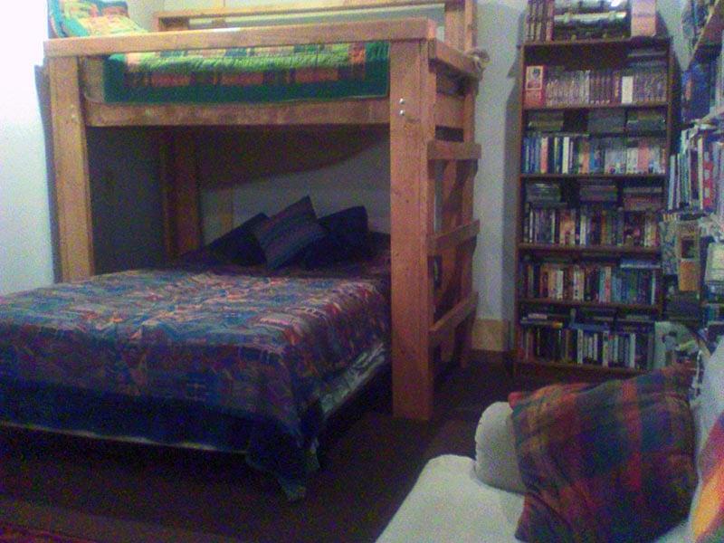 Den room with bunk beds.